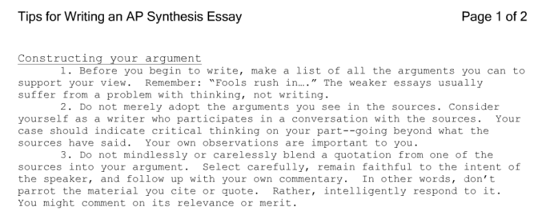 examples of ap synthesis essays essay topics rubric - Synthesis Example Essay