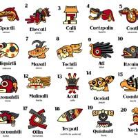 CALENDARIO AZTECA 20 DÍAS NOMBRES EN NÁHUATL, ESPAÑOL E INGLÉS. CON IMÁGENES