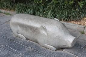 Wer sich hier auf eine Bank setzt, hat Schwein gehabt