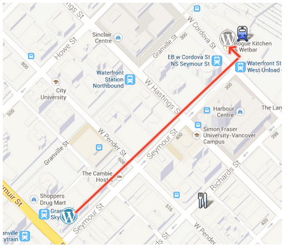 map of  WordCamp to after party