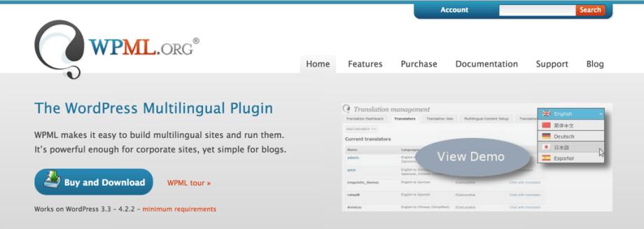 Сайт плагина WPML