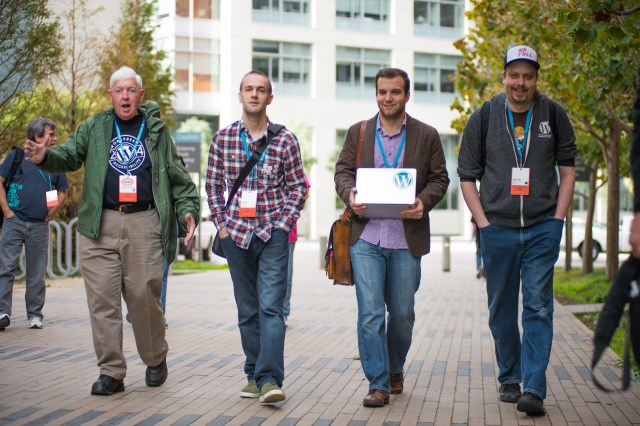 John Blackbourn with Andrew Nacin, Otto Wood at WordCamp San Francisco 2014. Photo by ma.tt