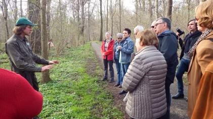 Herr Opitz erklärt Femelungen im Auwald; Foto: M. Geißler