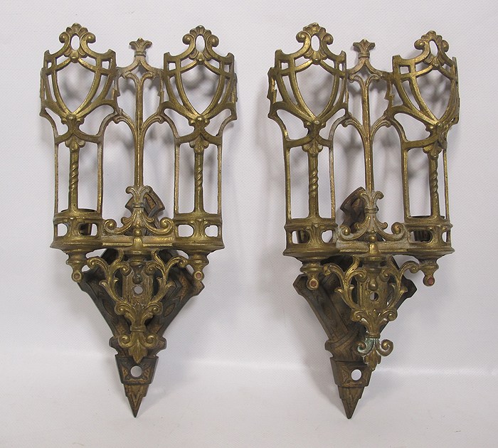 Antique Pair Eastlake Victorian Gothic Brass Candle Wall ... on Victorian Wall Sconces id=58294