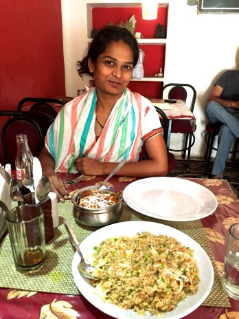 Ankie sharing my first Indian meal with me