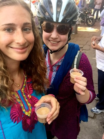 Talia's first chai in India