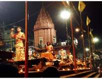 My obsession... the Ganga Aarti. This time in Varanasi! (Photo by Morgan)