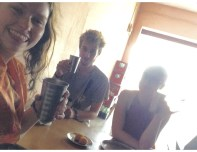 Bad quality photo, but good lassi and GREAT people! (Pictured: Morgan, Leo, Emily)