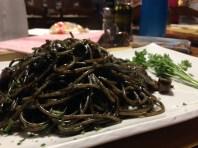 Morgan's dinner - Squid Ink Pasta... surprisingly delicious!