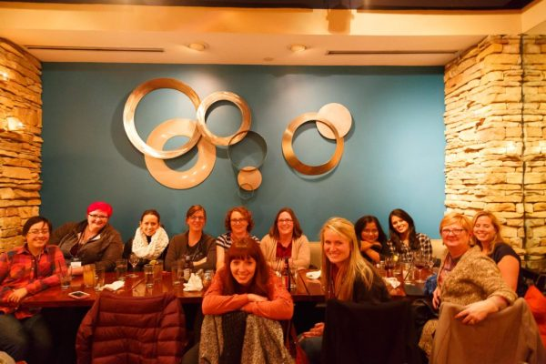 Photo by Anna Pawlicka from the Lambda Ladies dinner at Clojure/west 2014 in Portland.
