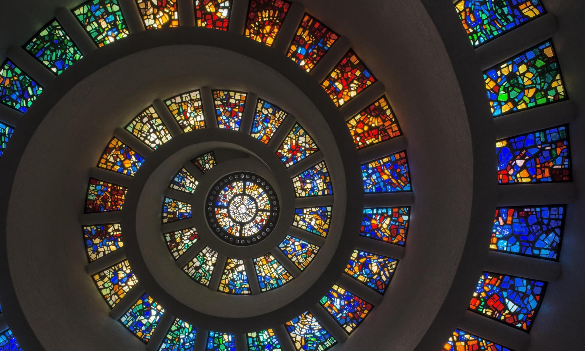 stained glass ceiling in a spiral design