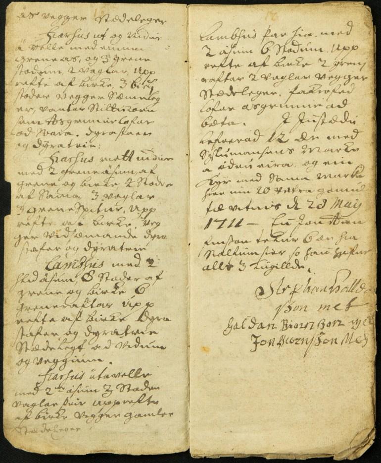 Elsta úttekt sem varðveitt er á Héraðsskjalasafni Skagfirðinga, er frá árinu 1711.