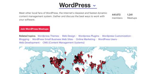 map of WordPress Meetups