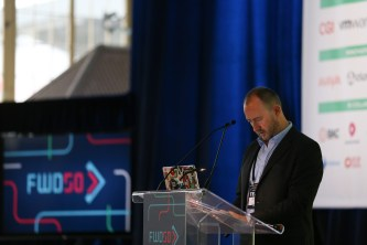 FWD50 chair Alistair Croll prepares to speak