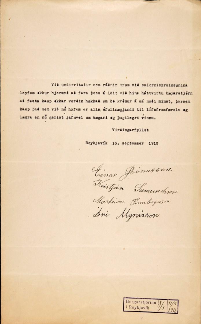 Krafa salernishreinsara um launahækkun sept. 1918.