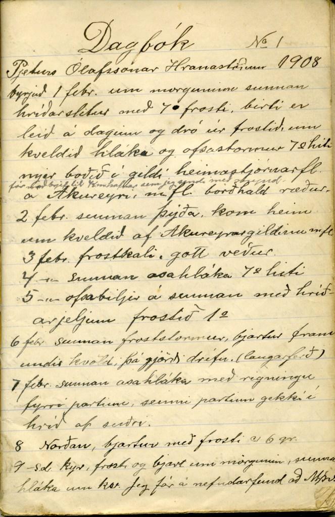 Forsíða úr fyrstu dagbók Péturs Ólafssonar frá 1 febrúar 1908.