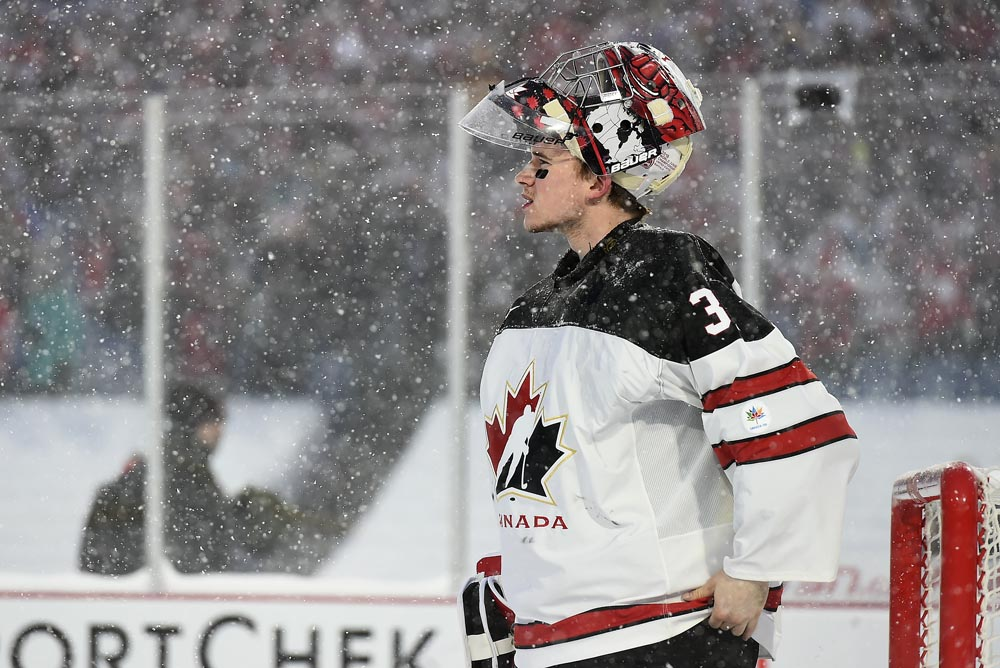 224fb32ea Canada s Carter Hart  31 looks on during preliminary round action against  the U.S. at the 2018 IIHF World Junior Championship.