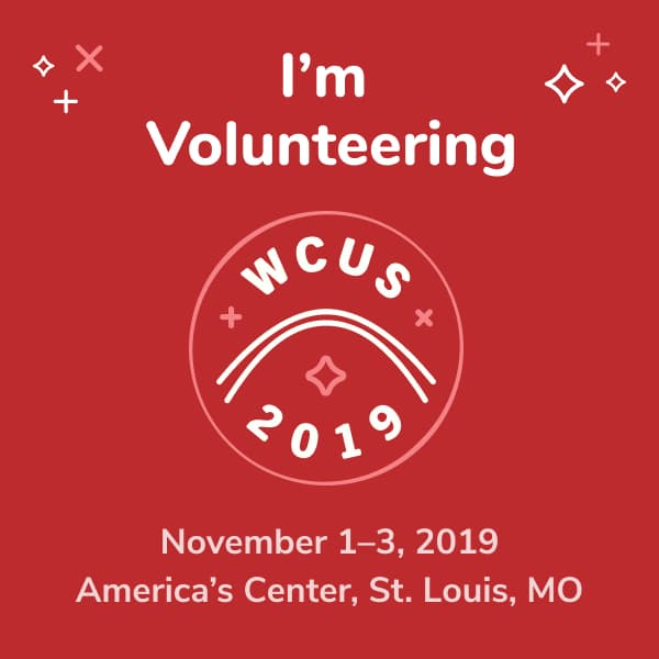 I'm volunteering at WordCamp US 2019!