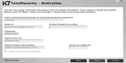 K7 TotalSecurity 15.1.0332 Activation Key