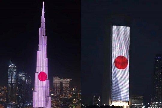 【画像あり】 イスラム教・アラブ首長国連邦の名所が日本の建国記念日を祝い紅白のライトアップ