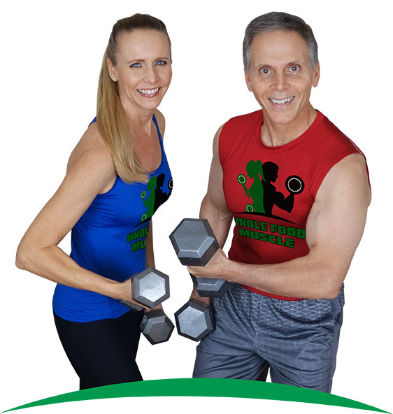Dr Robyn Odegaard with her husband Russ Bruzzano in there Whole Food Muscle shirts