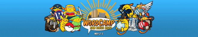 Colorful Wapuus around the logo for WordCamp San Diego 2020