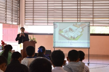 Mr. Khamsavay, Deputy Director of the LGTC, informs AfC pupils in Ban Phang Heng secondary school about the new training course