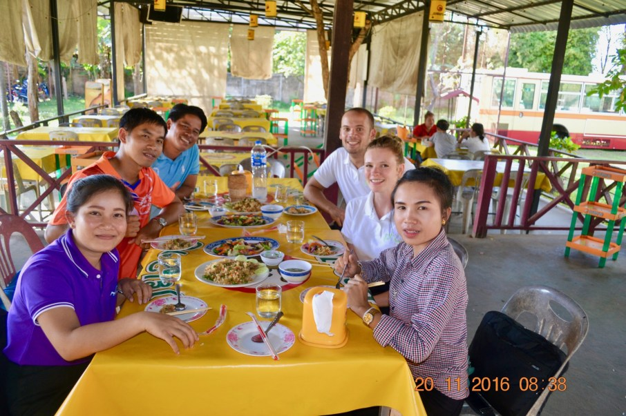 Having lunch at a Lao restaurant nearby our house