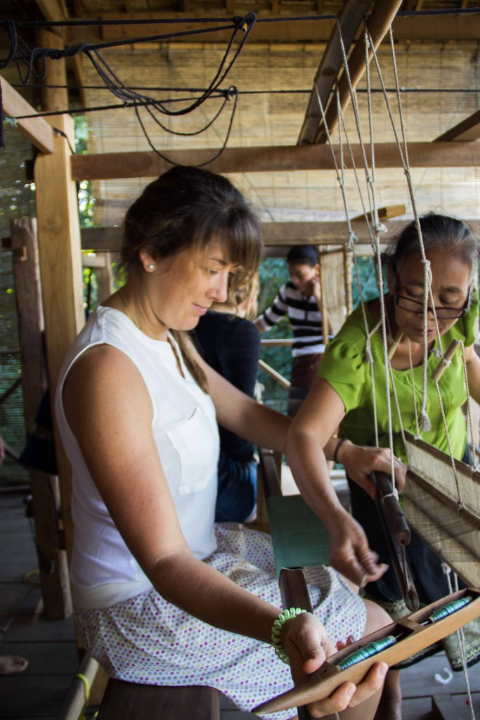 Help is needed: My weaving teacher shows me what to do