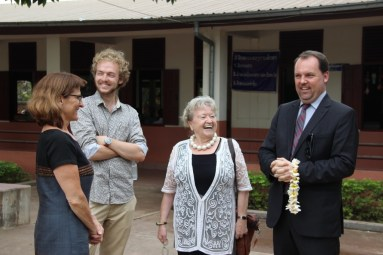 Project leaders Prof. Martin, Johannes Zeck, Gerlinde Engel, with Michael Heller (Chancellor of the German Embassy in Laos) during the visit of Minister Ms Sengdeuane Lachanthaboune