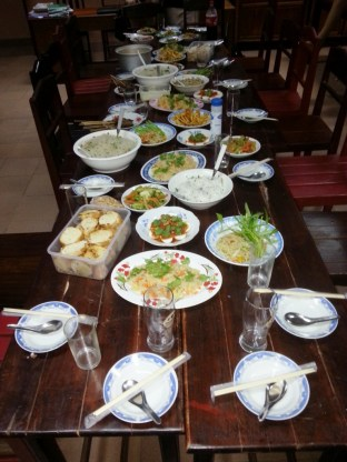 Small feast in the teachers' room at Ban Sikeud Secondary School
