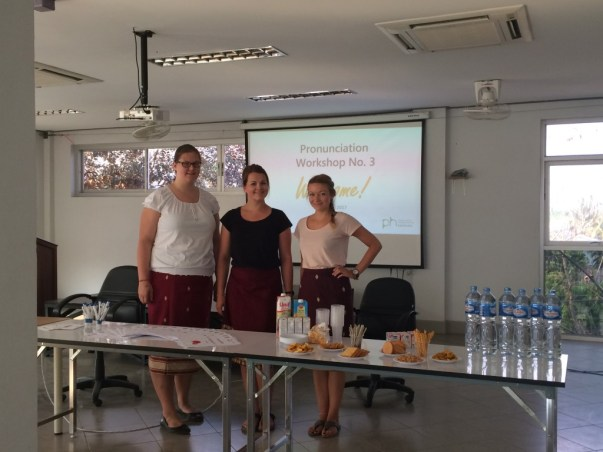 LGTC workshop authors Christiane, Amelie, and Stephanie are ready for their first pronunciation workshop