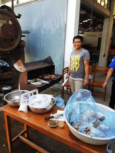 Lae is the barbecue chef.... the fish was delicious!