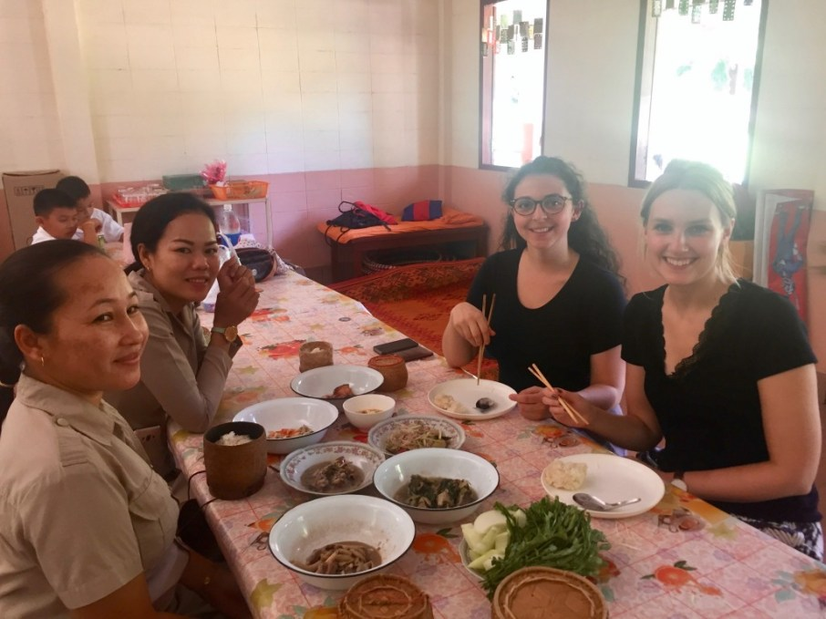 """Hanna and I before """"digging in"""" together with Ms Noy and Ms Malayath"""