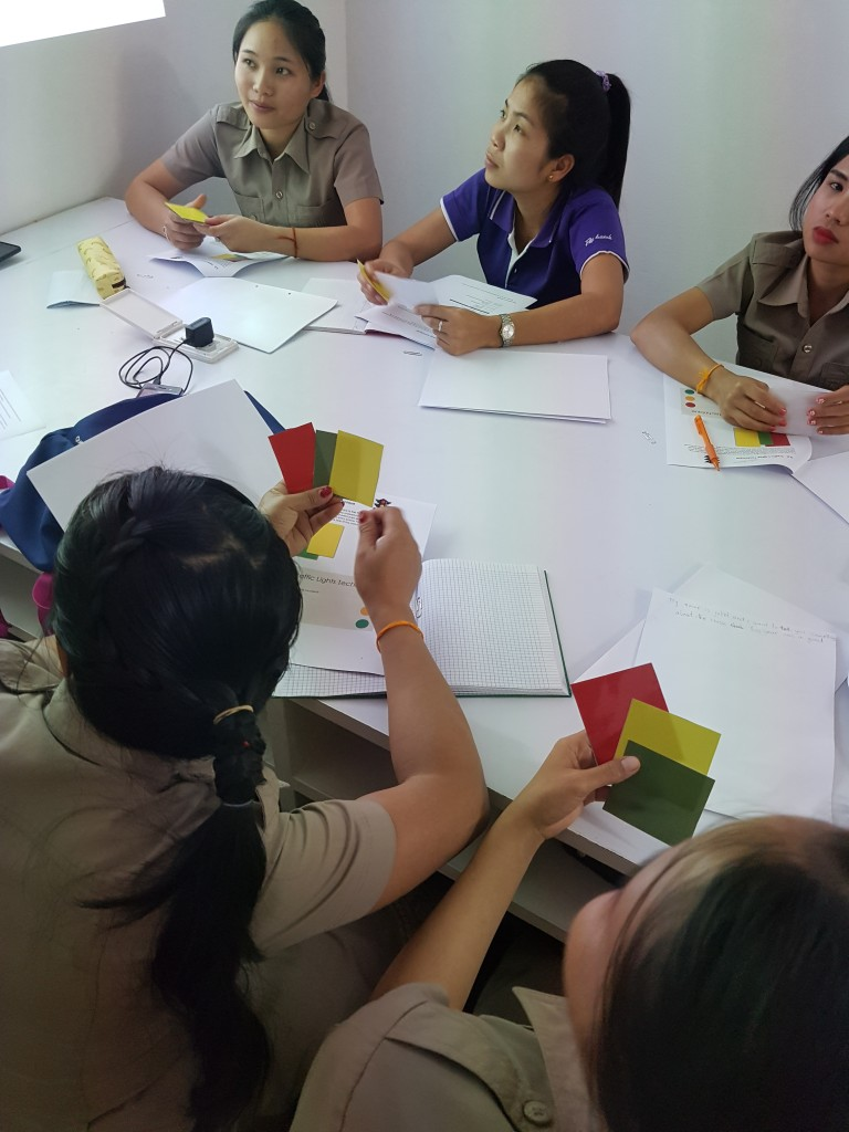 The teachers try out the traffic lights technique
