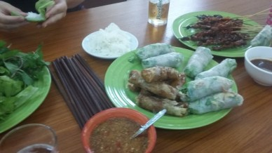 Different types of spring rolls and finger food