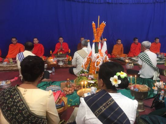 Baci ceremony with monks