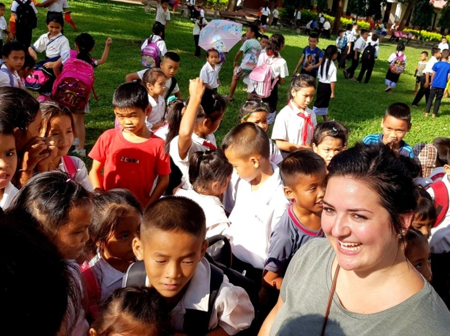 """""""Teacher Meike"""" on the first day at Ban Sikeud Primary School"""