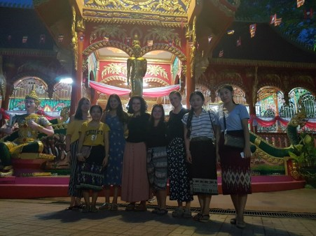 Team VII and some of the Lao teachers at Wat Si Muang in Vientiane