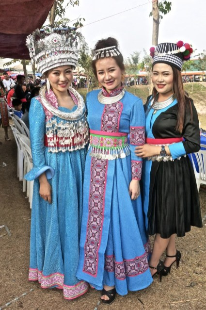 Girls in traditional Hmong dresses