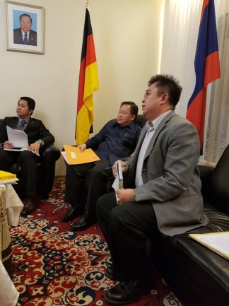 His Excellency Mr Phomma Boutthavong during our meeting with his staff