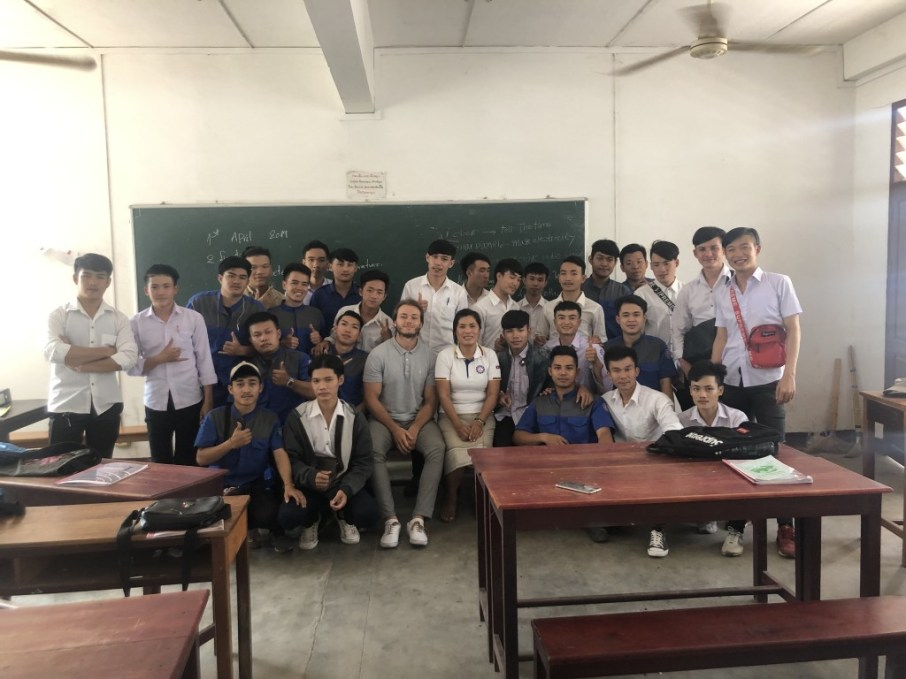 Thomas Pelka and his tandem-partner Ms Viengkhom Phyathep with her Automotive class (AT1F)