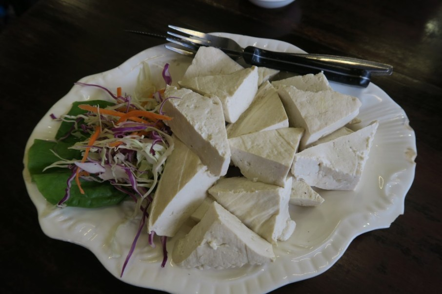 Soft Tofu served with raw vegetables