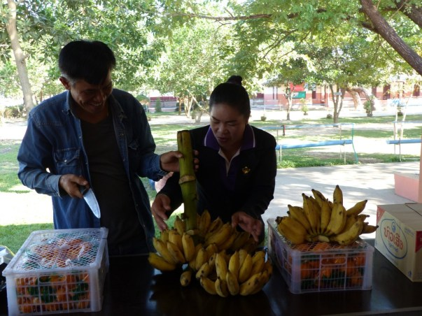 Our driver, Mr Viengkham, and Ms Bounpheng Singhalath provide snacks for the small break.