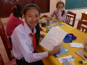 ... and Ms Thipsavanh Sylitda proudly presents her first drawing.