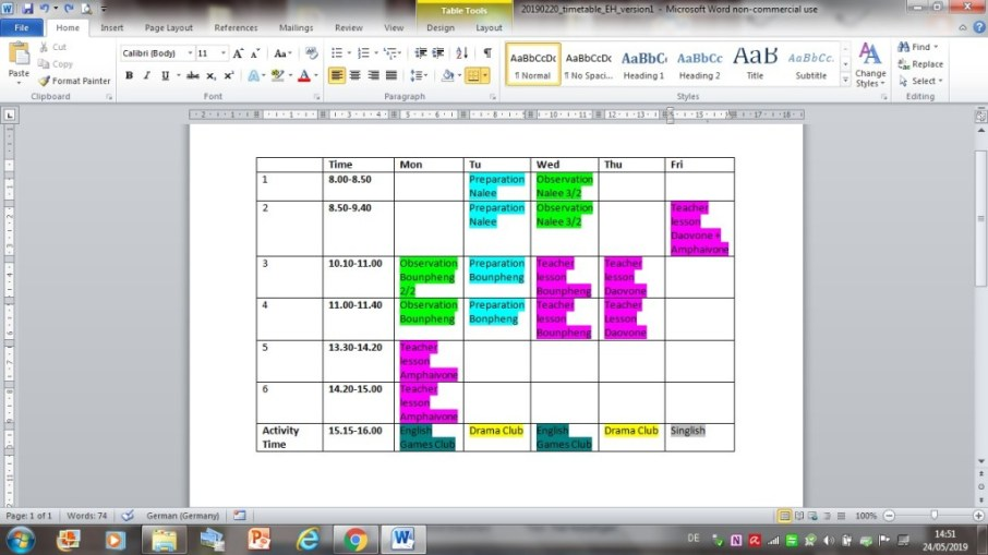 Elisabeth's timetable at the lower secondary school