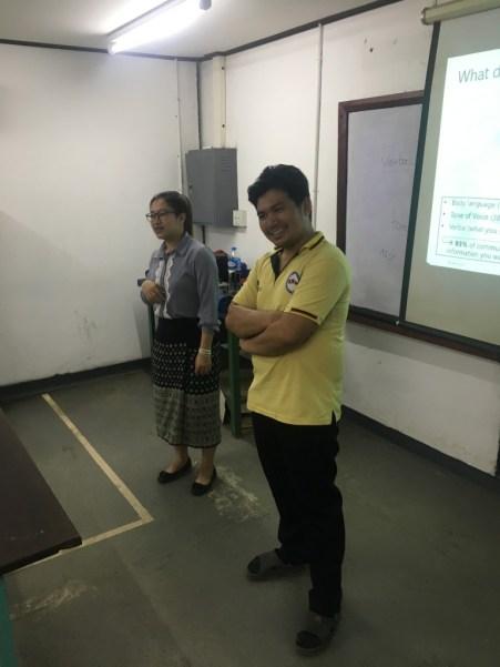 """Ms Mayvilay Gnommilavong and Mr Sichahn Boutvadong demonstrate the emotion """"confidence"""" through body language."""