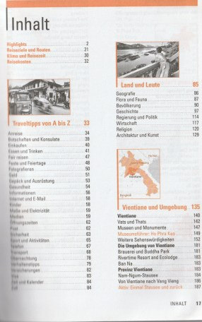 "Table of contents with tipps for travel - excerpt from ""Laos – Travel Handbücher"", © 2015 MAIRDUMONT GmbH & Co. KG"