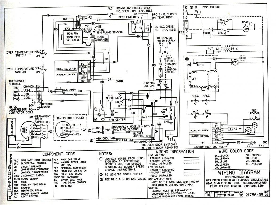 Gas Heat Furnace Wiring Diagram Schematic