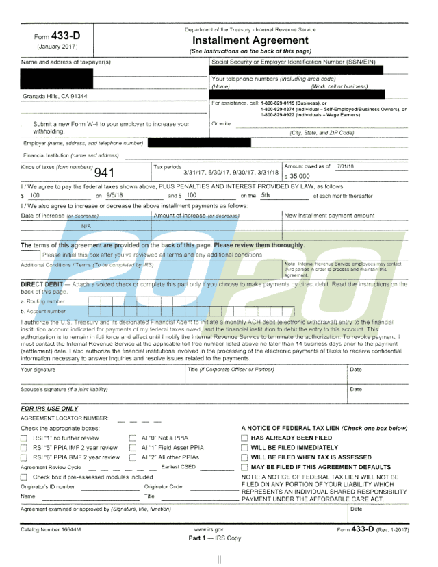 IRS Accepts Installment Agreement in Granada Hills, CA - 27/27 Tax